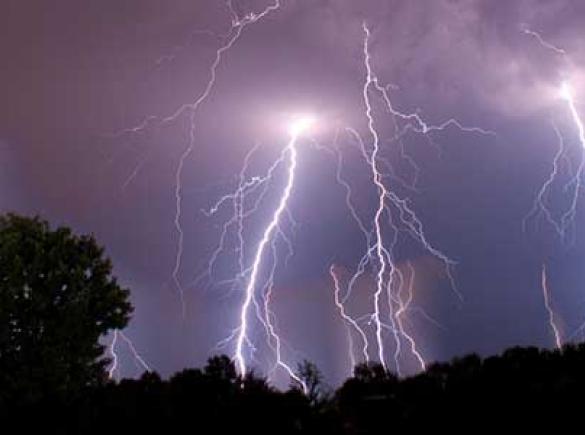 lightning strikes in night sky